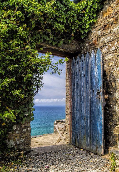 Life is beautiful: Beach seaside shabby chic landscape with wooden door (dja)