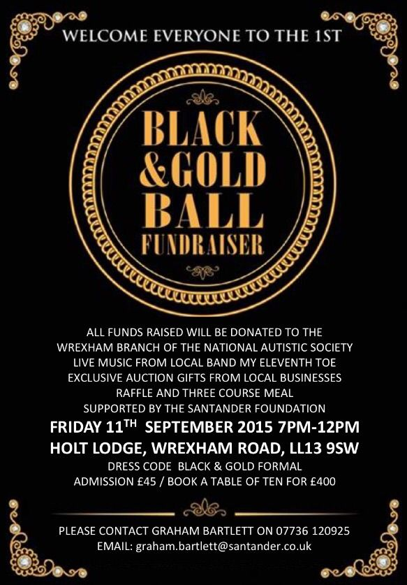 Black and Gold Charity Ball - EventsnWales, Raising vital funds for the Wrexham Branch of the National Autism Society with live music from the Eleventh Toe