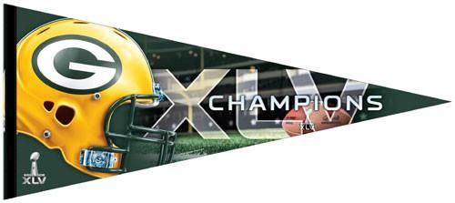 "Green Bay Packers Super Bowl 45 Champion Premium Pennant - Team - 17""x40"""