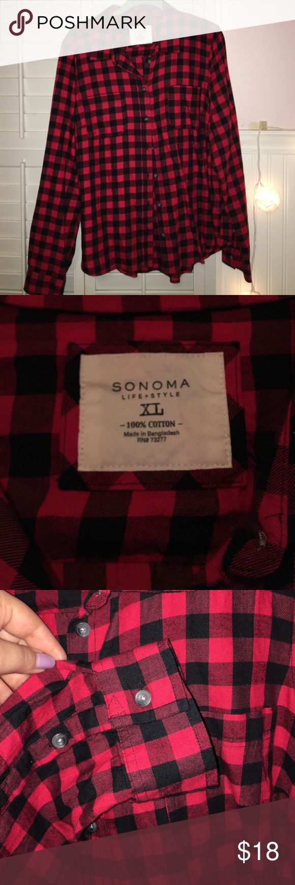 Black and Red Button Up Plaid Shirt Black and red plaid button up shirt. Two pockets on the front of the shirt. Purchased at Kohls. Only worn a few times so in excellent condition. Sonoma Tops Button Down Shirts
