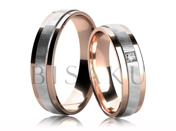4271-2 Snubní prsteny v kombinaci bílého a červeného zlata, prostřední matná část (škrábaný mat), je profilově lehce vyvýšena od krajů, které jsou řešeny ve vysokém lesku. Dámský prsten je zdoben jedním kamenem. #bisaku #wedding #rings #engagement #svatba #snubni  #prsteny
