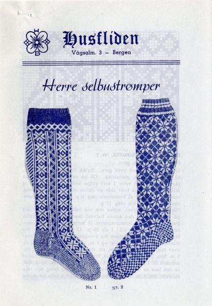 Selbustrømper for herrer fra Husfliden. Arkivreferanse: RA/S-1342 Landbruksdepartementet, Heimeyrkekontoret, F, 46.