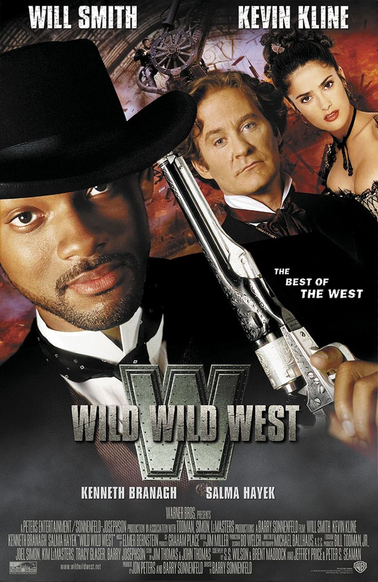 Wild Wild West , starring Will Smith, Kevin Kline, Kenneth Branagh, Salma Hayek. The two best hired guns in the West must save President Grant from the clutches of a 19th century inventor-villain. #Action #Western #Comedy #Sci-Fi