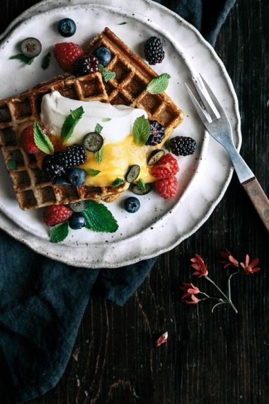 Vanilla Buckwheat Waffles with Lemon Curd, Fresh Berries & Mint