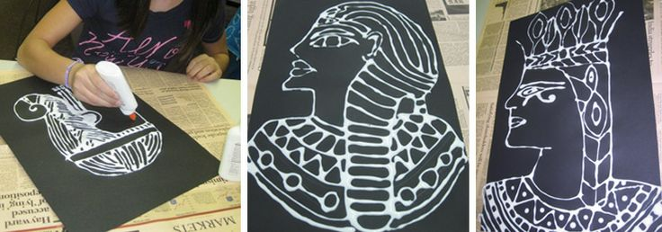 Egyptian Chalk and Glue Line Portrait Art Project
