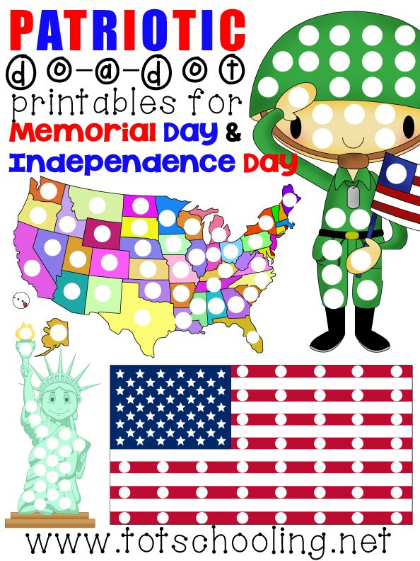 Free Do a Dot Printables for Memorial Day & Independence Day from Totschooling