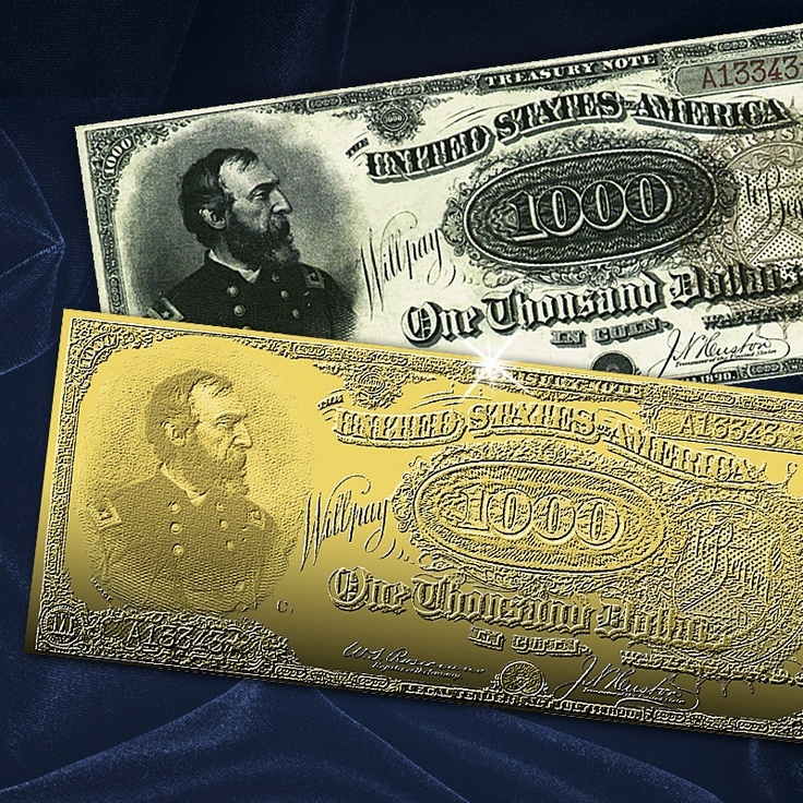 gold 1000 dollar bill