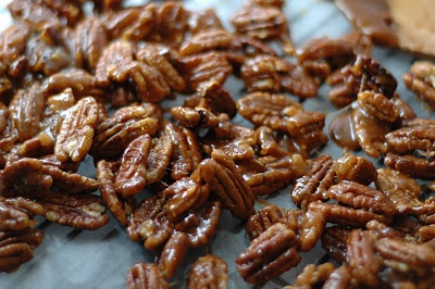 Candied nuts. Just made these (used a mix of almonds and pecans). Waiting for them to cool so I can try them!