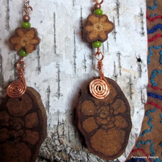 Ayahuasca Vine Earrings with Green Accents by pachawawa on Etsy, $30.00