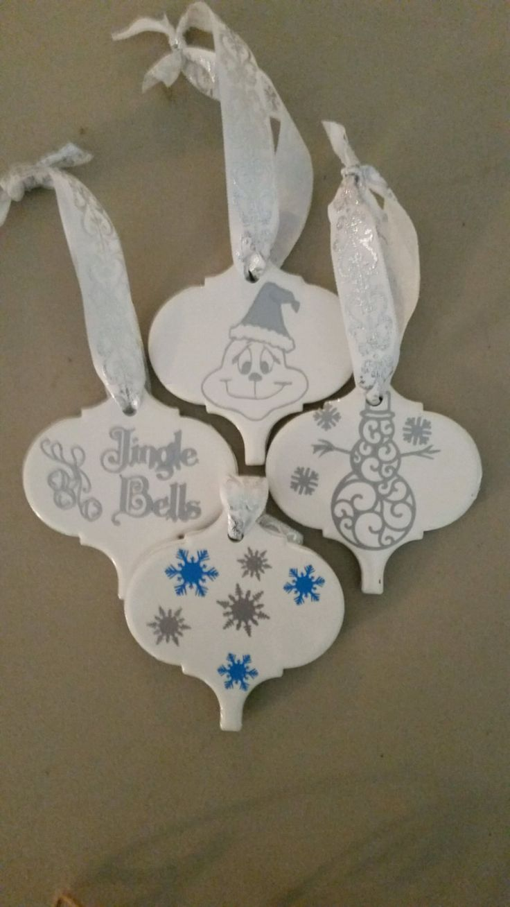 Christmas Tile Ornament Set Of 4 By Angiesgoods On Etsy