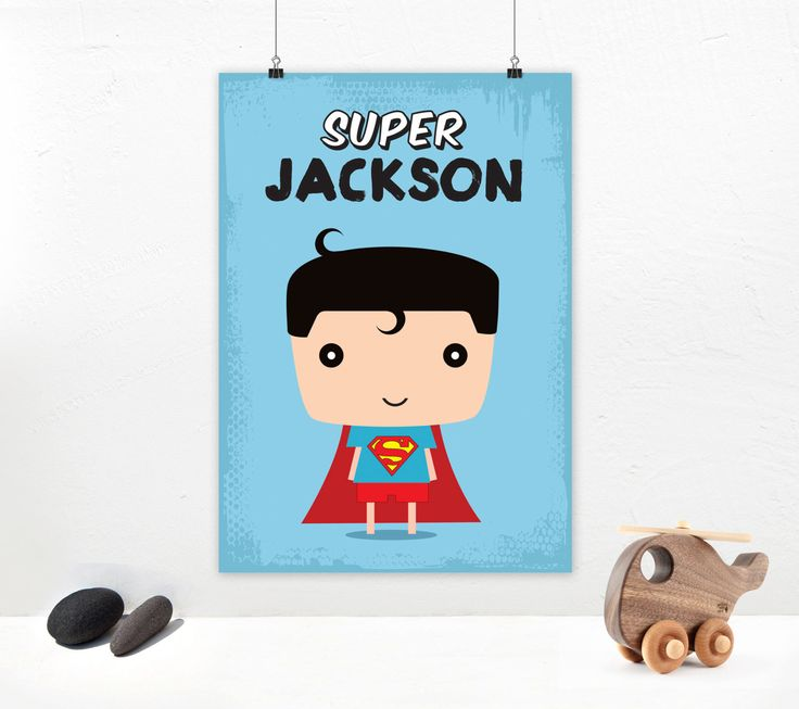 Poster print wall art. Personalized superhero illustration art poster with Superman kid. Custom kids name wall art deco. Digital file. by PenguinGraphics on Etsy