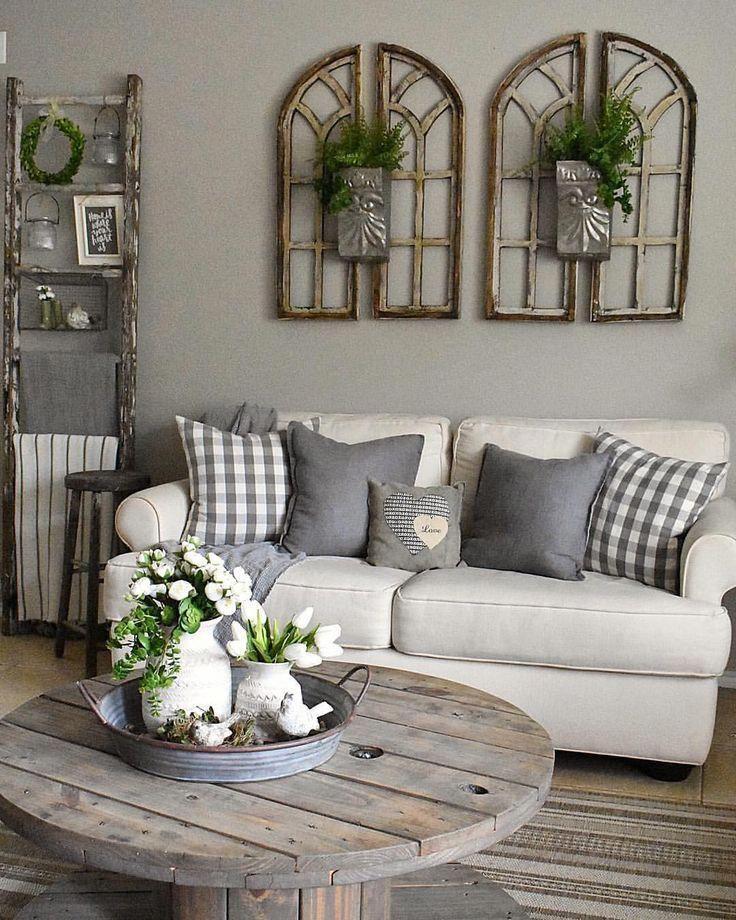 Rustic Farmhouse living room decor ideas. Simple idea for ...