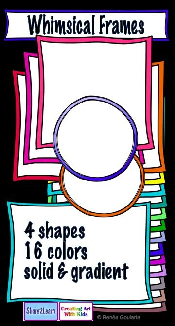 Whimsical Doodle Frames with Colored Borders | Gradient color ...