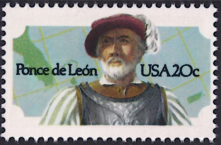 United States Scott #2024 (12 Oct 1982) Juan Ponce de León was a Spanish explorer and conquistador. He became the first Governor of Puerto Rico by appointment of the Spanish crown. Ponce de Leon also led the first European expedition into Florida in 1513, who named it La Florida (Flowery Land) plus landing there during the Easter season (Pascua Florida). It is here that Ponce de León is associated with the legend of the Fountain of Youth.