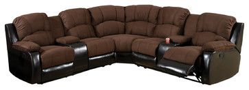 Ransol Sectional Sofa with 2 End Recliners Upholstered in Elephant Skin Microfib transitional-sectional-sofas