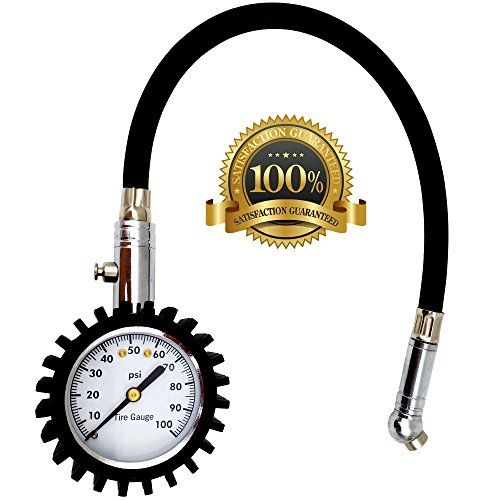 AutoCarePeople Tire Pressure Gauge - heavy duty tire pressure gauge For Your Car and Motorcycle -100 PSI  HIGH ACCURACY STANDARDS: Battery-free tire pressure gauge is expertly calibrated to ANSI B40.1 Grade B (±2%) international accuracy standard, which ensures you get quick and reliable readings.  PRECISE ADJUSTMENT FOR TIRE PRESSURE: Integrated bleed button, it makes precise tire pressure adjustment of over inflated tires easy.  HEAVY DUTY: Heavy duty metal body with rugged gear-styl...