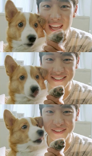 cute doggy with Lee Je Hoon