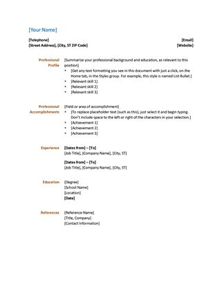 A Simple Design For A Functional Resume That Gives Your Document A  Professional Look. Use