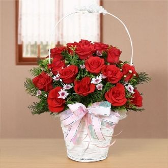 16 red roses basket - Send Fresh Flowers Internationally   Price:  US$45.99  16 red roses match flowers and greenery, arrange in basket.