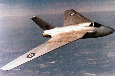 The DH-108, the first British aircraft to break the sound barrier. With german captured aerodynamics data...