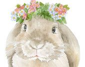 Lop Rabbit Floral Watercolor Painting 4 x 6 - Giclee Print Reproduction - Woodland Animals - Girls Room Nursery Decor