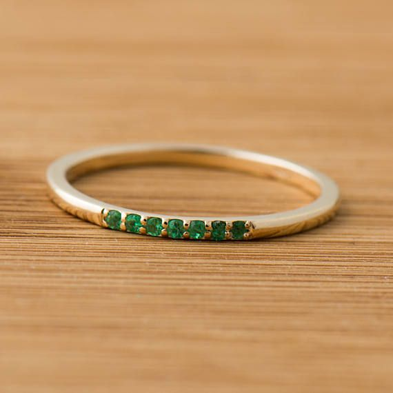 Emerald Ring Dianty Emeralds Band 14k Yellow Gold Stackable Etsy In 2020 Yellow Gold Stackable Ring Emerald Wedding Rings Emerald Band