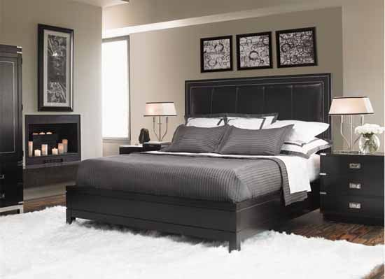 Contemporary Bedroom set. Grey/white and black room - I'd probably throw in a splash of colour with cushions #BedroomSets #Contemporaryfurniturebedroomcolour
