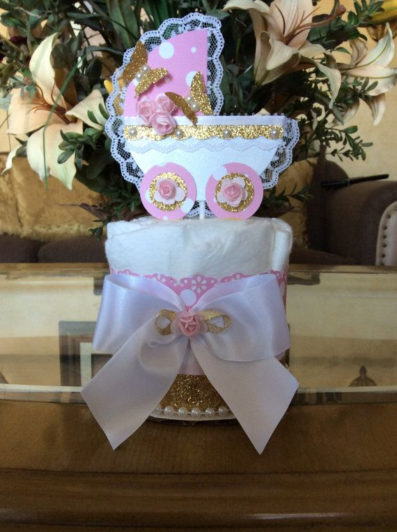 Pink and gold baby shower centerpieces/Pink and gold carriage