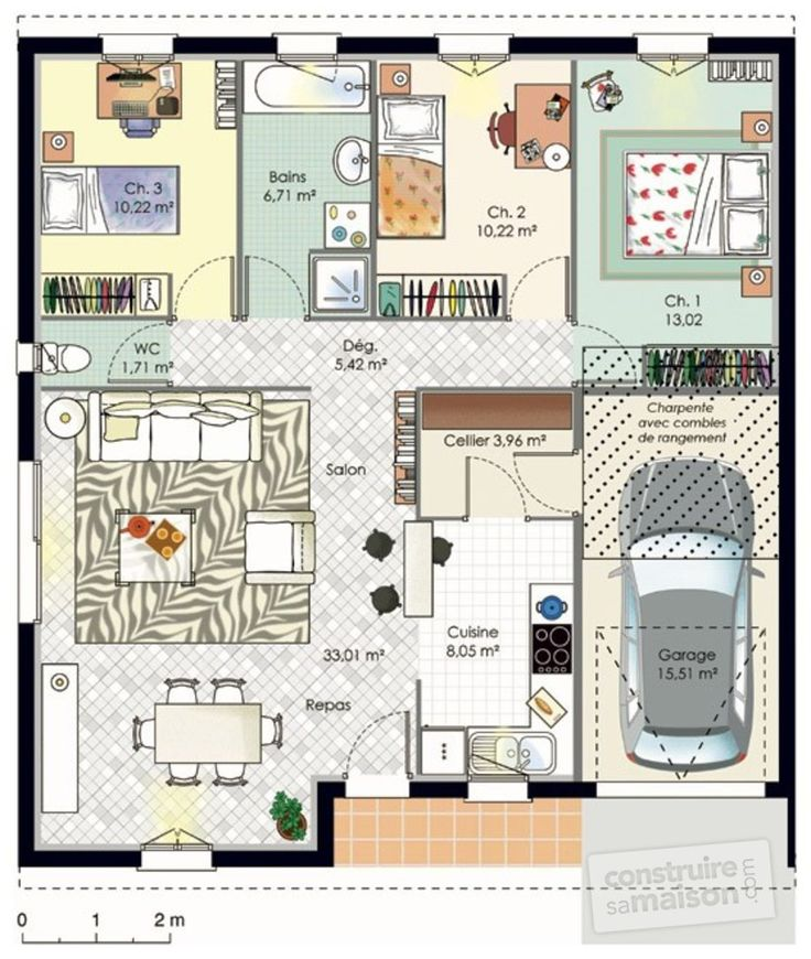 Maison accessible plans de maison maison plein pied et for Plan maison carree plein pied