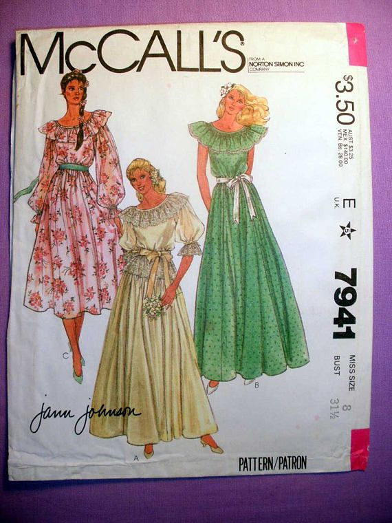 Wedding Gown or Bridesmaids Dress Sewing Pattern; Gowns A,B,C have neck ruffle, bound neckline, snapped back opening; bodice and skirt are gathered into waistband. A and C have sleeves with gathered cap and elastic in lower casings. Gown A, of lace or eyelet, has elbow length sleeves, neck and sleeve ruffles and peplum of lace or eyelet. Purchased ribbon trim on sleeve casings. Sleeveless gown B has smocking and edging trim on neck ruffle; blue transfer is included. C has long sleeves…