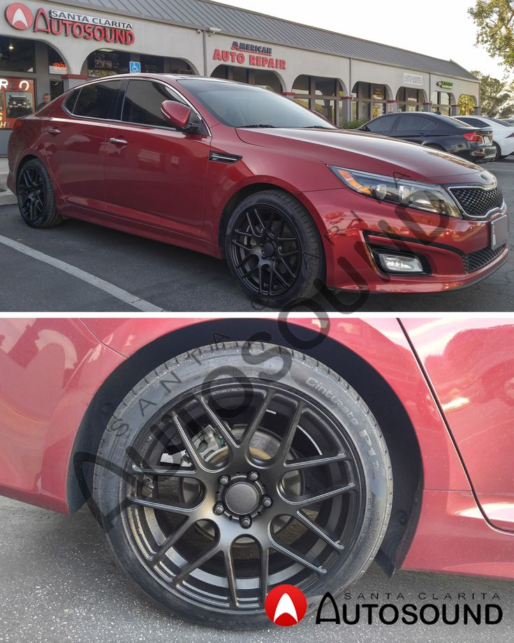 Check Out The 18'' Curva Matte Black Wheels and the Pirelli tires on this Kia Optima. Call us and Come down if you need to powder coat parts on your vehicle: 661-286-1100.