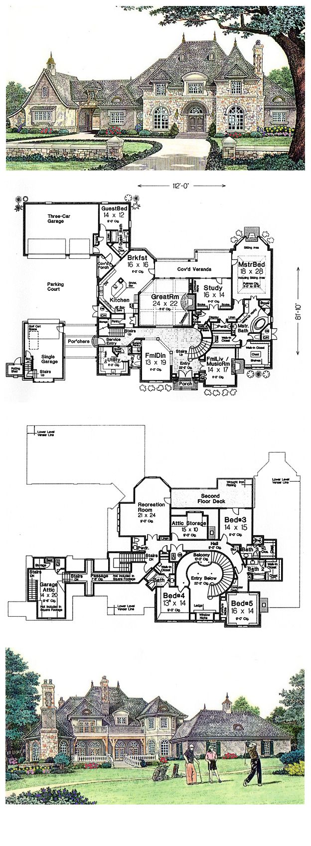 COOL House Plan ID: chp-39871   Total living area: 6274 sq ft, 5 bedrooms & 6 bathrooms. Multiple stairs. Very spacious.