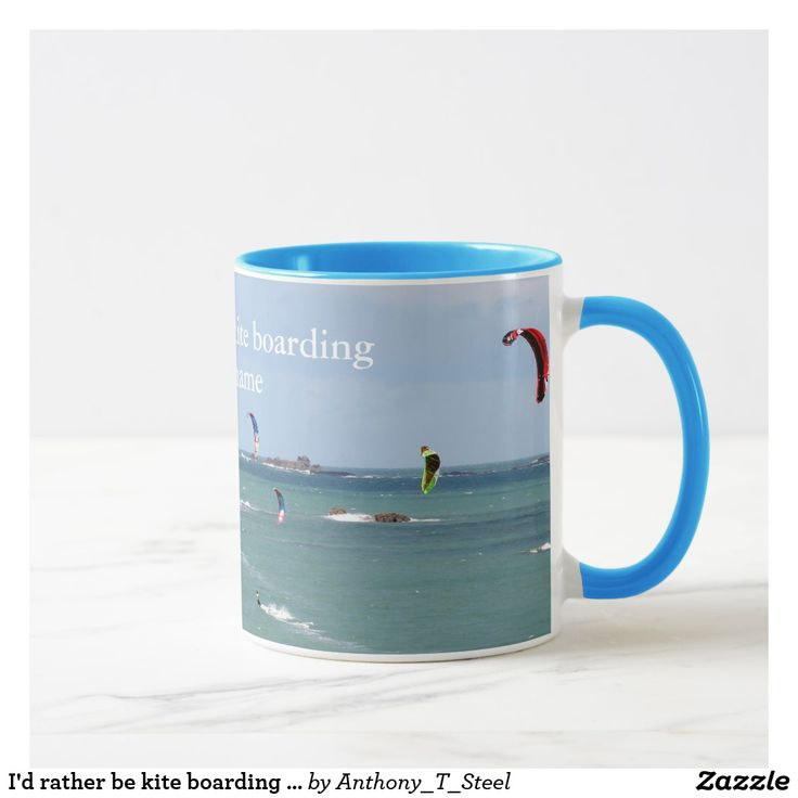 """I'd rather be kite boarding - personalised mug This mug is covered by a photo of a kite surfing race in progress off the coast of St Malo, Brittany, France. There is text in white stating """"I'd rather be kite boardng"""" and it can be customised with your name. It's a great gift for anyone who loves to kite board."""