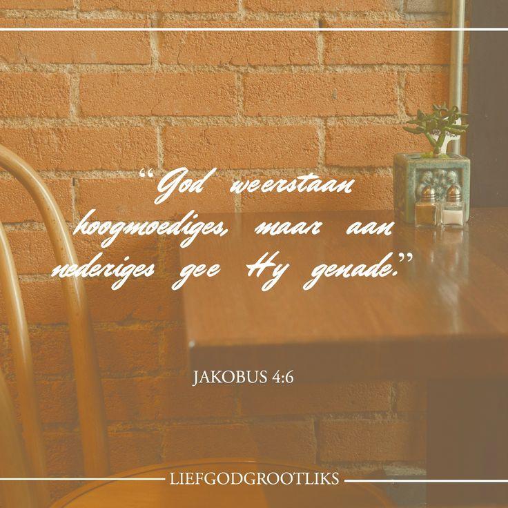 """Jakobus 4:6-10Maar die genade wat Hy gee, is nog groter. Daarom sê Hy: """"God weerstaan hoogmoediges, maar aan nederiges gee Hy genade."""" Vader God, skep in my 'n dienaarshart wat alleenlik verlang om U gelukkig te maak. Verwyder enige areas van trots in my hart. Here, hou my nederig en gewillig om U en U mense onselfsugtig te dien. In Jesus se Naam. Amen. #LiefGodGrootliks"""