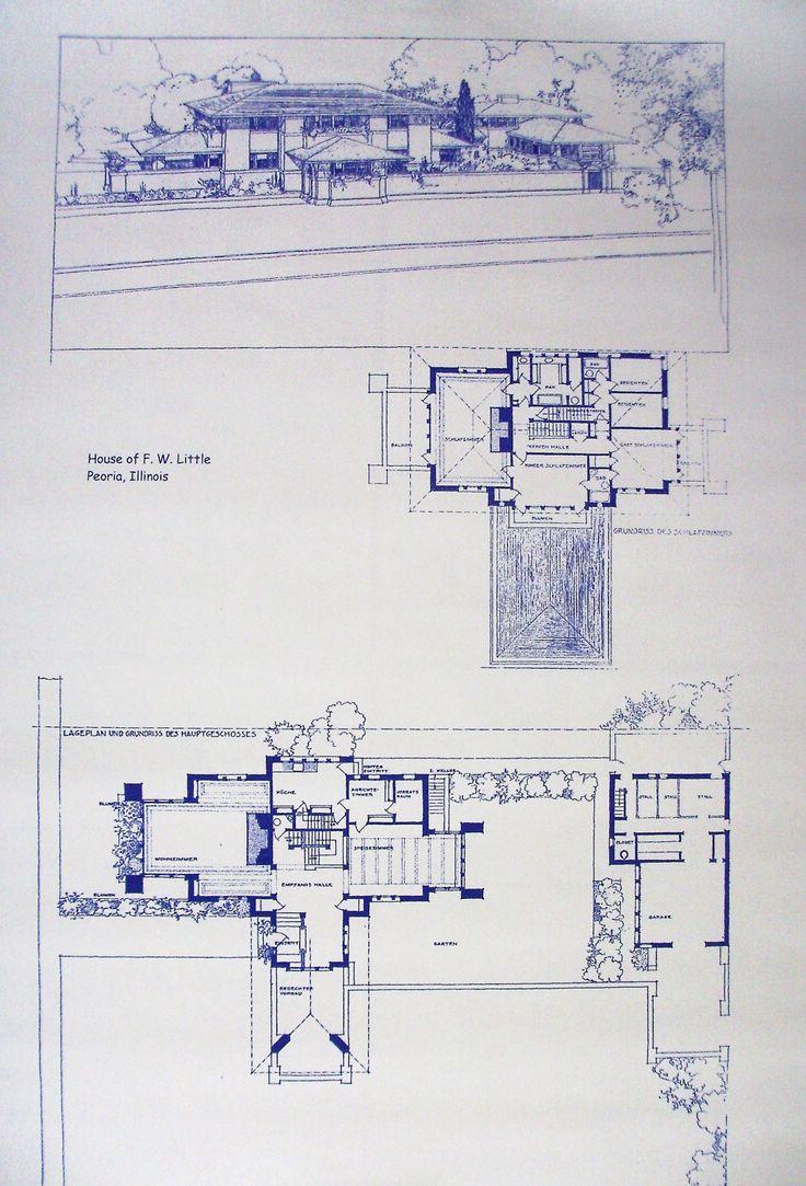 70 best commercial residential floor plans design for Frank lloyd wright blueprints houses