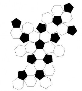 assembling the african flower soccer ball - crochet shapes template to make ball.