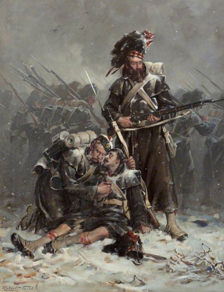 Comrades by Robert Gibb. British Black Watch Highlanders at the Battle of Alma. Crimean War