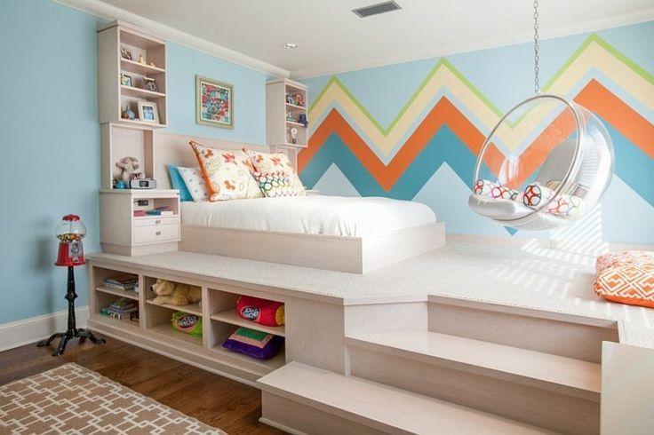 Akzent Wand Ideen Buntes Zick Zack Muster In Einem Zimmer Mit Erhohtem Bett Jugendzimmer Zimmer Coole Zimmer