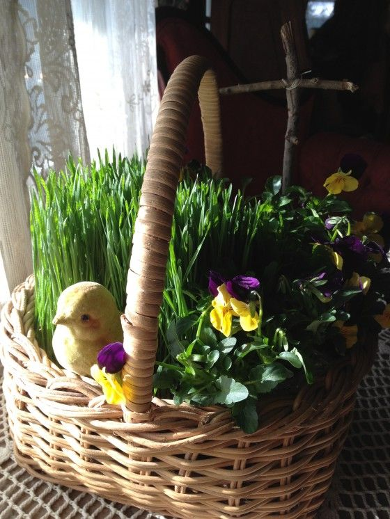 The Living Easter Basket Empty Tomb And 3 Crosses Centerpiece Decorated Blown Eggs Homemade Marshmallow Chicks Pickled