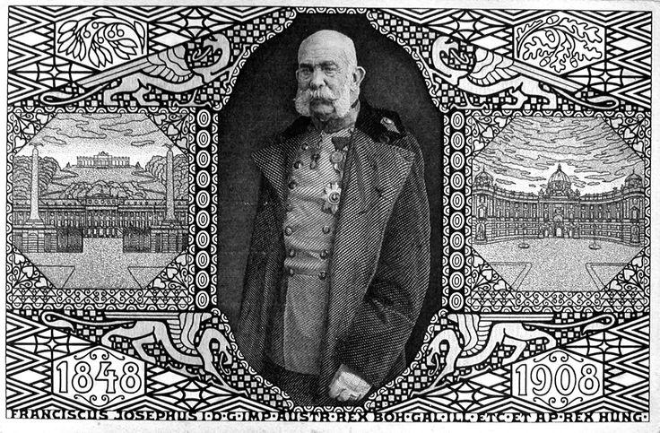Postcard with Emperor Franz Josef - Koloman Moser