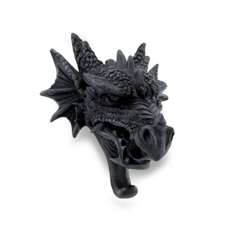 cast iron finish gothic dragon head sculptural wall hook black plastic