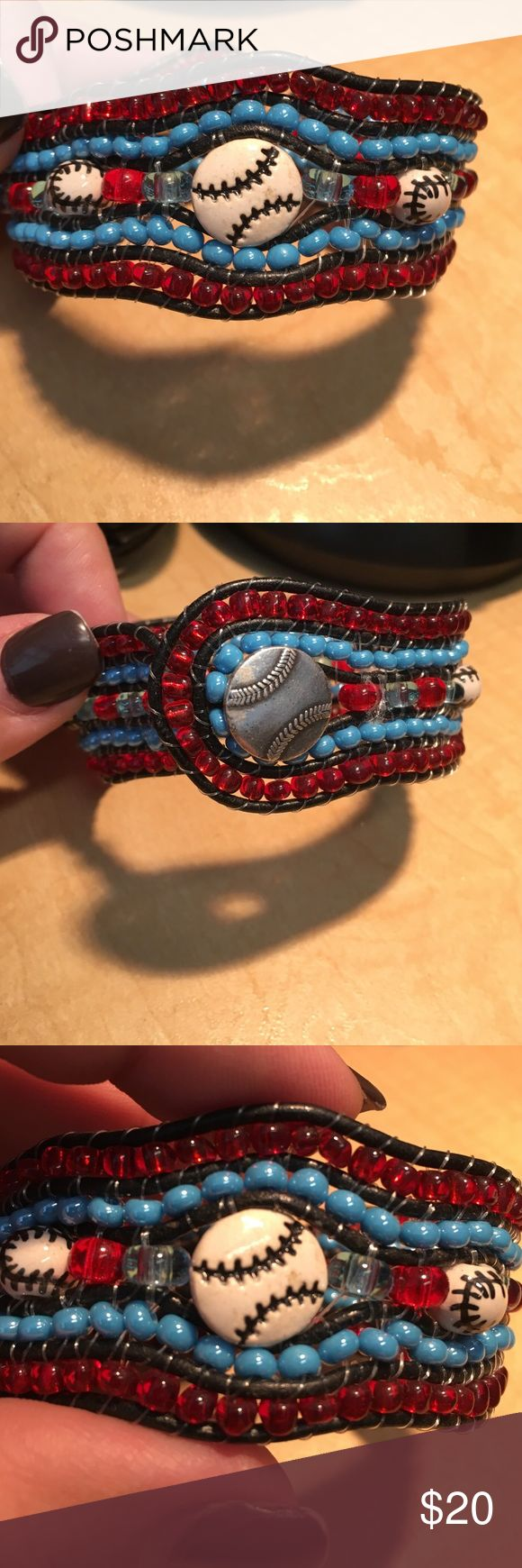 Women's baseball bracelet cuff Red and blue with baseball beads and button closure. Super cute! Jewelry Bracelets