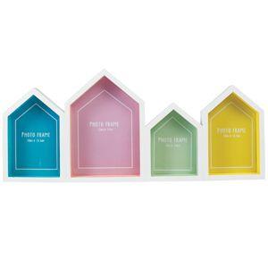 Cadre photo multiple maisons en verre fond coloré et bois blanc