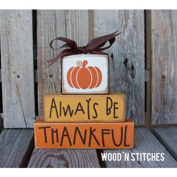 Primitive Fall thanksgiving thankful STACKER Wood block set  fall autumn pumpkin home seasonal decor
