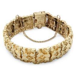 14ct Gold Patterned Solid Bracelet