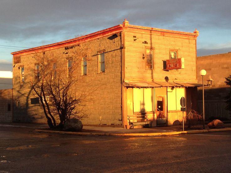 Golden Crown Restaurant as the sun goes down, Castor, Alberta.