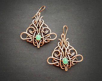 Orecchini in argento con turchese e rubini  filo avvolto