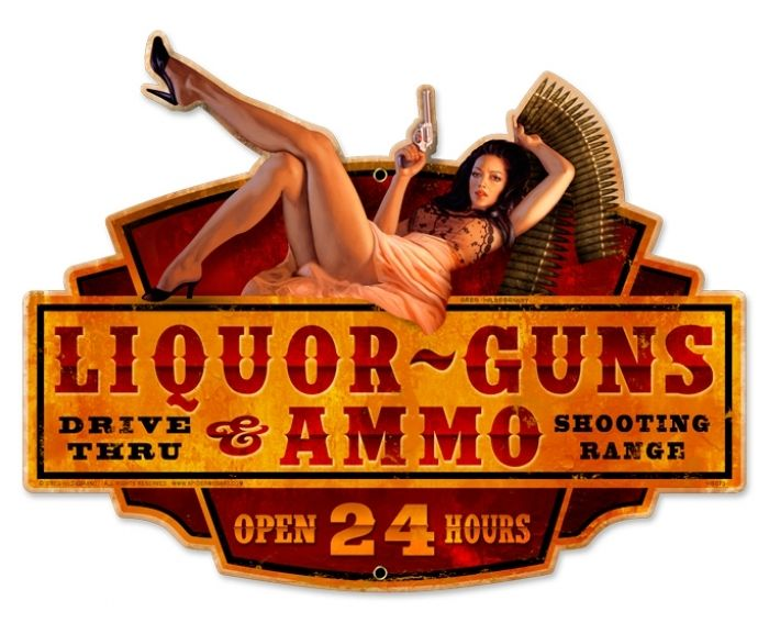 Retro Liquor Guns Ammo Metal Sign 20 X 16 Inches Signs