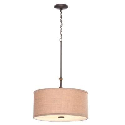 Hampton Bay Quincy 3-Light Oil-Rubbed Bronze Drum Pendant with Burlap Shade-ES4732OB4 - The Home Depot
