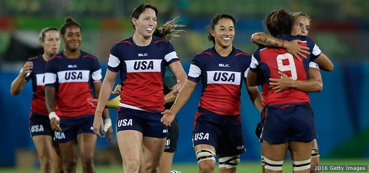 Members of the U.S. women's rugby team celebrate their victory against France at the Rio 2016 Olympic Games